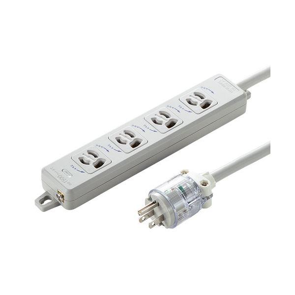 サンワサプライ 医用接地プラグ付き電源タップ TAP-HPM4-5W