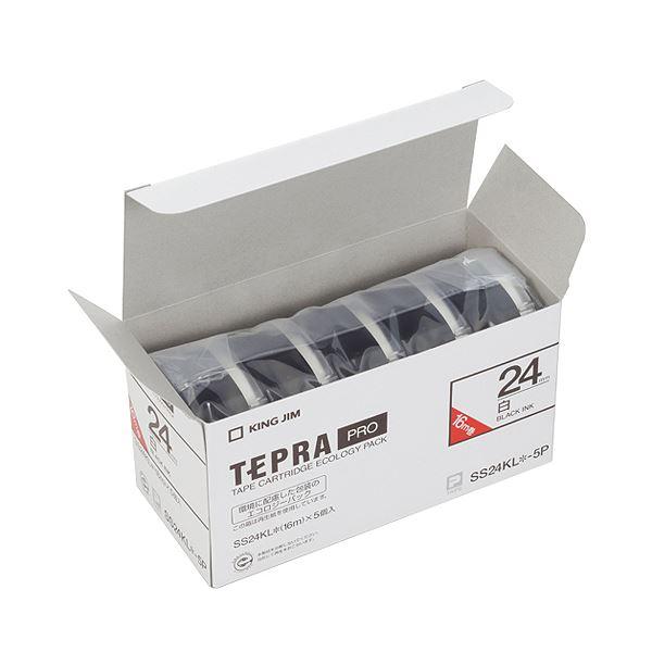 (まとめ)キングジム テプラ PRO テープカートリッジ ロングタイプ 24mm 白/黒文字 SS24KL-5P 1パック(5個)【×3セット】