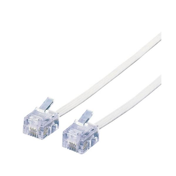 (まとめ) スリムモジュラケーブル 配線 6極4芯 ホワイト 15m MJ-15WH 1本 【×10セット】 白