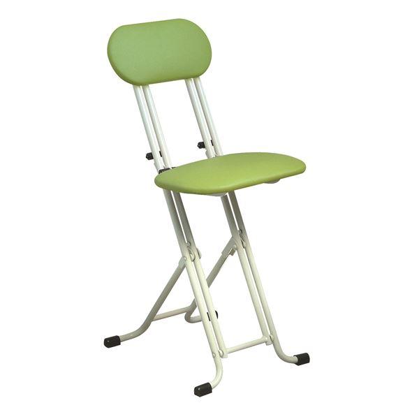 シンプル 折りたたみ椅子 (イス チェア) 【グリーン×ミルキーホワイト 幅330mm】 金属 スチール パイプ 『ニューベストホビーチェア (イス 椅子) 』 白 緑