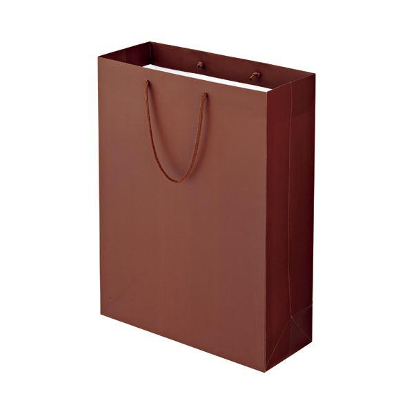 (まとめ) TANOSEE マットコート手提げ袋 LL ヨコ380×タテ500×マチ幅150mm ブラウン 1パック(10枚) 【×5セット】 茶