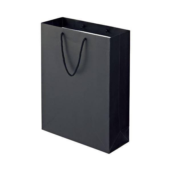 (まとめ) TANOSEE マットコート手提げ袋 LL ヨコ380×タテ500×マチ幅150mm ブラック 1パック(10枚) 【×5セット】 黒