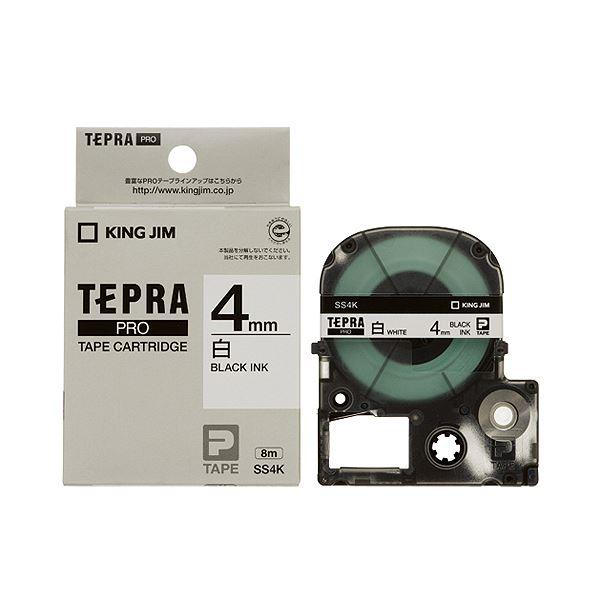 (まとめ) キングジム テプラ PRO テープカートリッジ 4mm 白/黒文字 SS4K 1個 【×10セット】