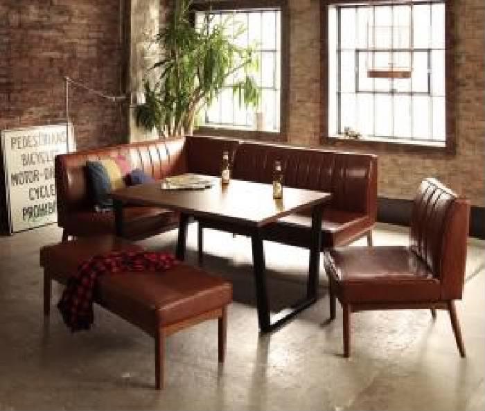 ダイニング 5点セット(テーブル+ソファ1脚+アームソファ1脚+チェア (イス 椅子) 1脚+ベンチ1脚) アメリカンヴィンテージ レトロ アンティーク デザイン リビングダイニング( 机幅 :W120)( ソファ色 : ブラウン 茶 )( 左アーム )
