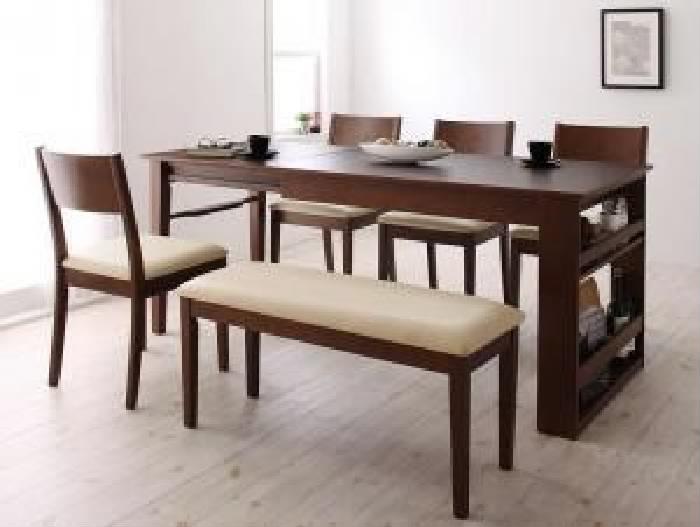 機能系テーブルダイニング 6点セット(テーブル+チェア (イス 椅子) 4脚+ベンチ1脚) 3段階に広がる!収納 整理 ラック付きエクステンション 伸長式 伸びる 可変式 延長 ダイニング( 机幅 :W120-180)( 色 : カフェブラウン 茶 )
