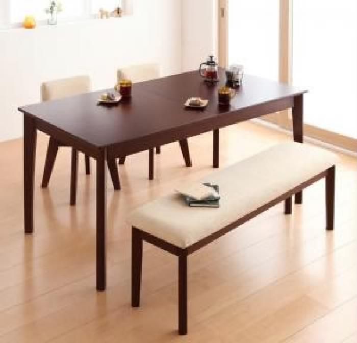 機能系テーブルダイニング 4点セット(テーブル+チェア (イス 椅子) 2脚+ベンチ1脚) 回転チェア 付き 北欧風デザイン エクステンション 伸長式 伸びる 可変式 延長 ダイニング( 机幅 :W150-200)( 色 : ナチュラル )