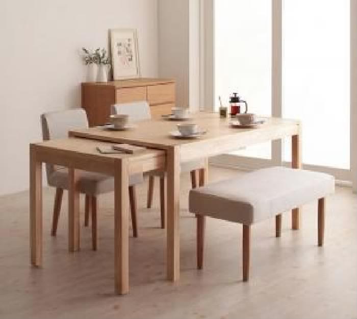 機能系テーブルダイニング 4点セット(テーブル+チェア (イス 椅子) 2脚+ベンチ1脚) スライド伸縮テーブルダイニング( 机幅 :W135-235)( 素材色 : ナチュラル )( イス色+ベンチ色 : ブラウン 茶2脚+ブラウン 茶 )