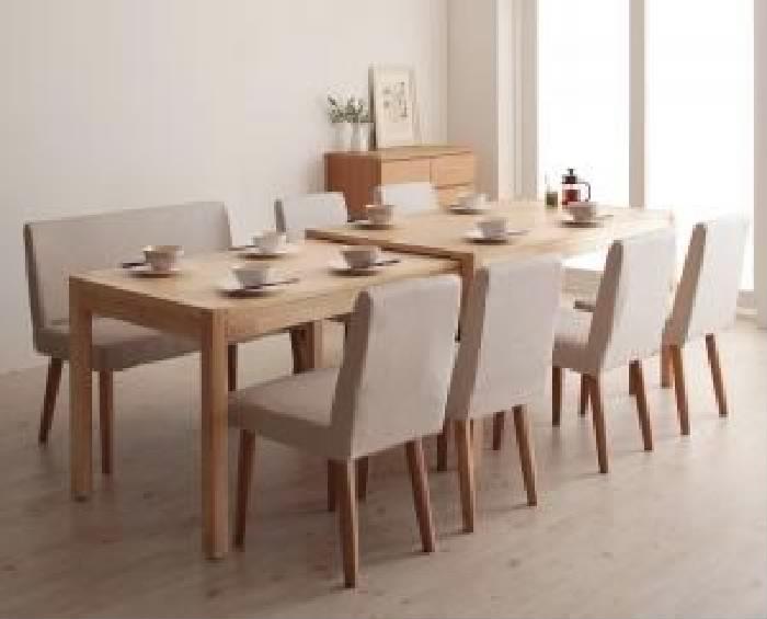 機能系テーブルダイニング 8点セット(テーブル+チェア (イス 椅子) 6脚+ソファベンチ1脚) スライド伸縮テーブルダイニング( 机幅 :W135-235)( 素材色 : ブラウン 茶 )( イス色+ベンチ色 : アイボリー 乳白色6脚+アイボリー 乳白色 )