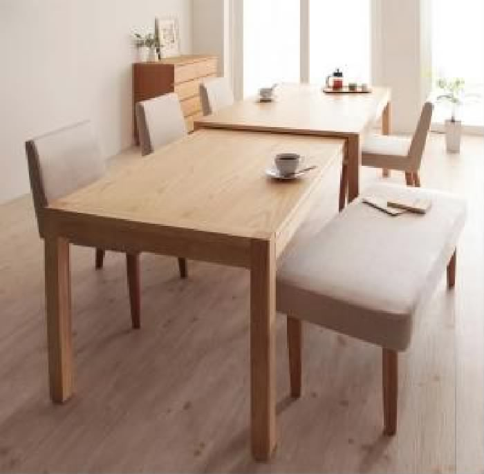 機能系テーブルダイニング 6点セット(テーブル+チェア (イス 椅子) 4脚+ベンチ1脚) スライド伸縮テーブルダイニング( 机幅 :W135-235)( 素材色 : ブラウン 茶 )( イス色+ベンチ色 : アイボリー 乳白色4脚+ブラウン 茶 )