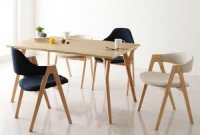 ダイニング 5点セット(テーブル+チェア (イス 椅子) 4脚) モダンインテリアダイニング( 机幅 :W140)( ハイタイプイス色 : アイボリー 乳白色 )( ロータイプイス色 : ネイビー )( ハイタイプ・ロータイプミックス )
