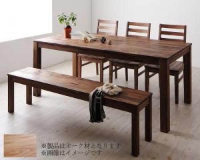 ダイニング 5点セット(テーブル+チェア (イス 椅子) 3脚+ベンチ1脚) 総無垢材ダイニング( 机幅 :W180)( 机色 : オーク )( オーク 板座 )