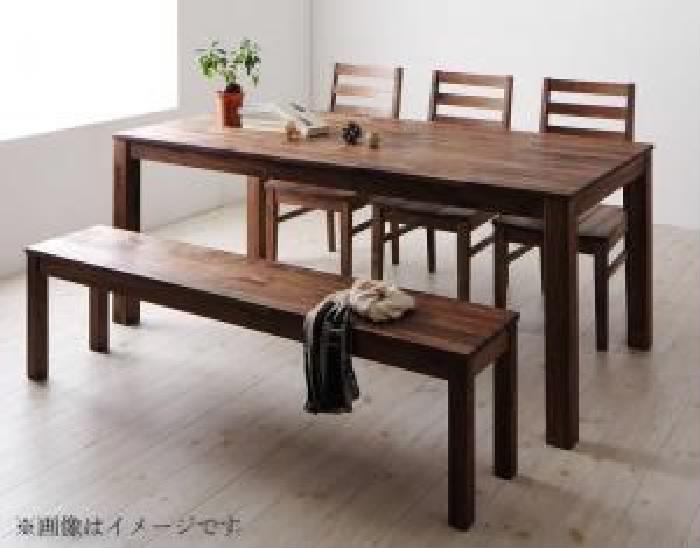 ダイニング 5点セット(テーブル+チェア (イス 椅子) 3脚+ベンチ1脚) 総無垢材ダイニング( 机幅 :W180)( 机色 : ウォールナット )( ウォールナット 板座 )