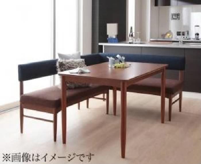 ダイニング用3点セット(テーブル+ソファ1脚+アームソファ1脚)W120ブラウン茶
