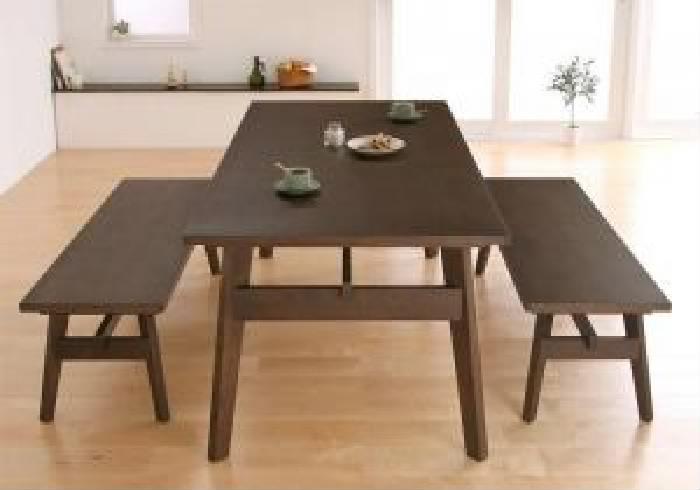 ダイニング用3点セット(テーブル+ベンチ2脚)W160ブラウン茶
