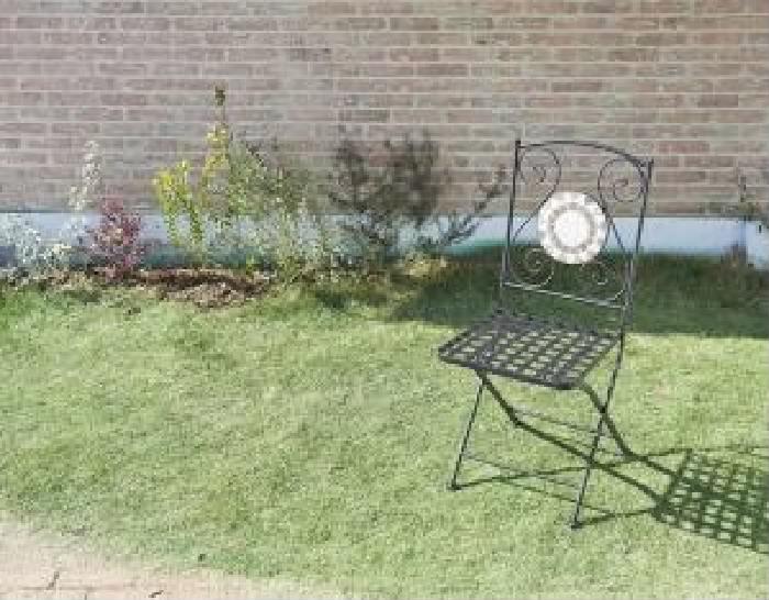 単品 モザイクデザイン アイアンガーデンファニチャー 用 ガーデンチェア 2脚組 (セット名 ガーデンチェア2脚組) イス 椅子