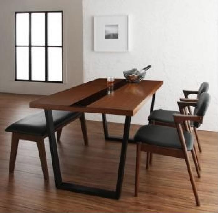 ダイニング用4点セット(テーブル+チェア2脚+ベンチ1脚)W150W150