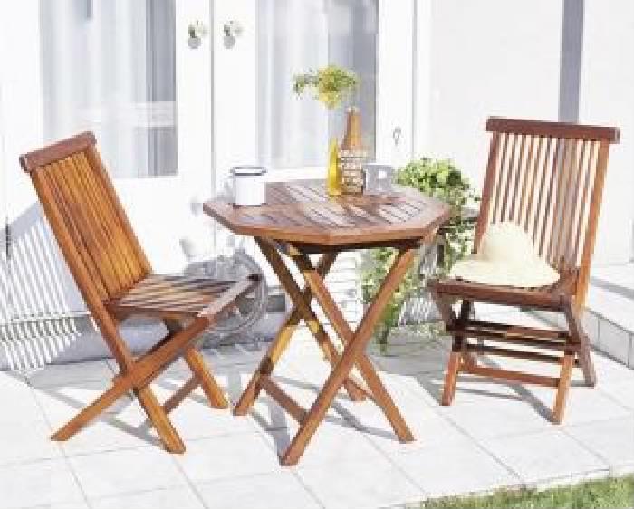 ガーデンファニチャーダイニング 3点セット(テーブル+チェア (イス 椅子) 2脚) チーク天然木 木製 折りたたみ式本格派リビングガーデンファニチャー( 机幅 :W70)( 机幅 : W70 )( 机八角形 イス肘無 )