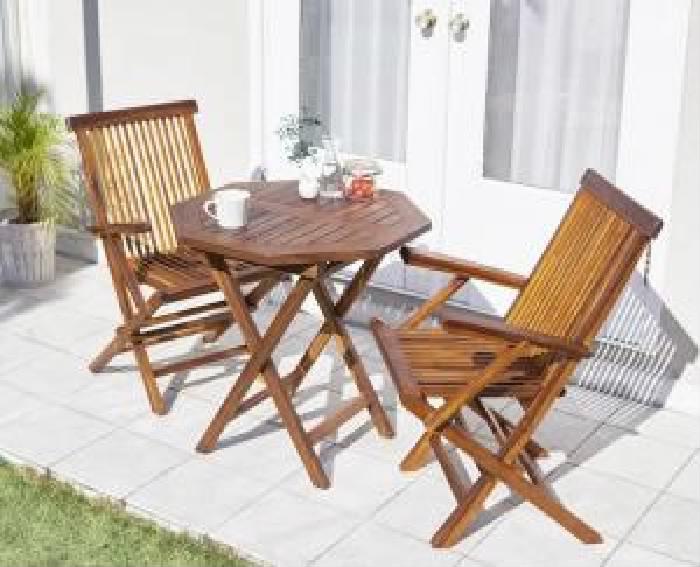 ガーデンファニチャーダイニング 3点セット(テーブル+チェア (イス 椅子) 2脚) チーク天然木 木製 折りたたみ式本格派リビングガーデンファニチャー( 机幅 :W70)( 机幅 : W70 )( 机八角形 イス肘有 )