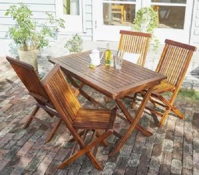 ガーデンファニチャーダイニング 5点セット(テーブル+チェア (イス 椅子) 4脚) チーク天然木 木製 折りたたみ式本格派リビングガーデンファニチャー( 机幅 :W120)( 机幅 : W120 )( イス肘無 )