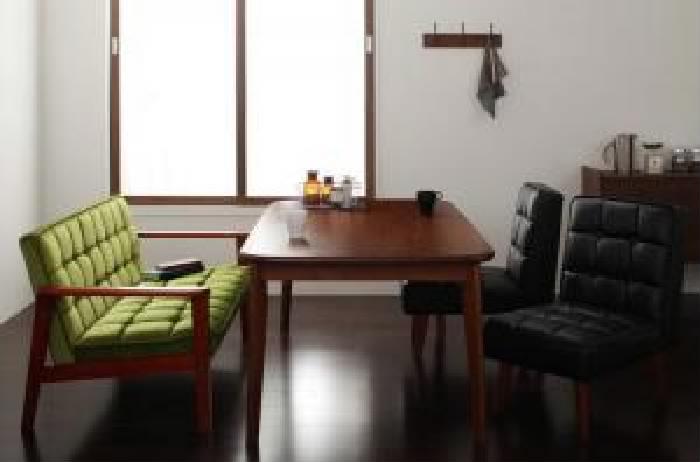 4点セット(テーブル+2Pソファ1脚+チェア2脚)W160モケットグリーン緑