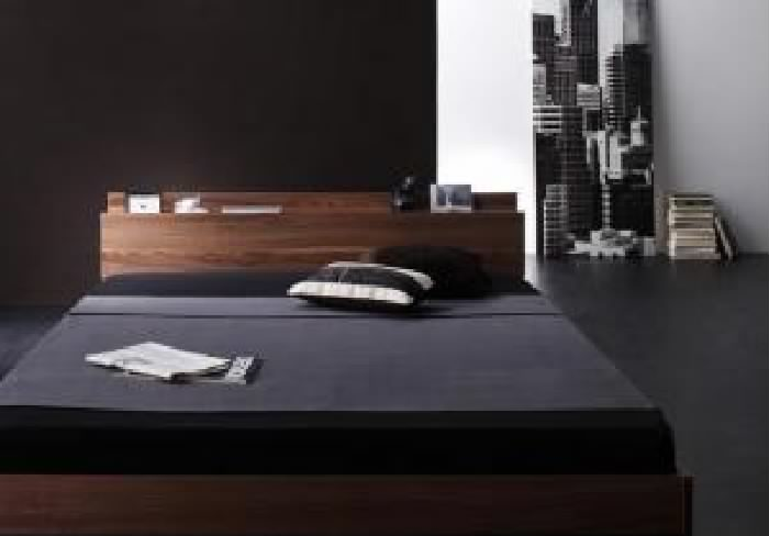 ダブルベッド 茶 ローベッド 低い ロータイプ フロアベッド フロアタイプ ・フロアベッド 国産 日本製 カバーポケットコイルマットレス付き セット 棚・コンセント付きフロアベッド ( 幅 :ダブル)( 奥行 :レギュラー)( フレーム色 : ウォルナットブラウン 茶 )
