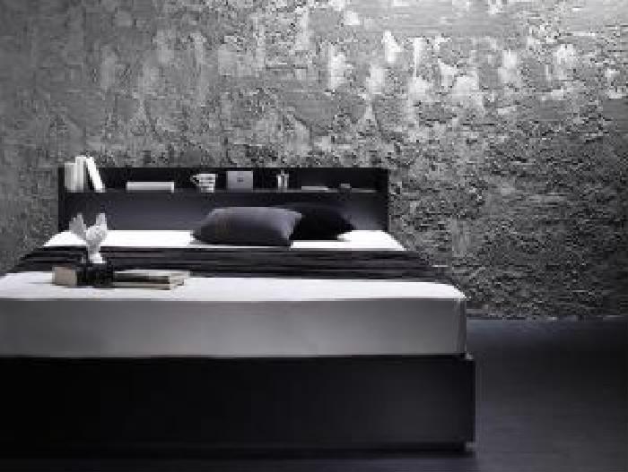 セミダブルベッド 黒 収納 整理 付きベッド マルチラススーパースプリングマットレス付き セット 棚・コンセント付き収納 ベッド( 幅 :セミダブル)( 奥行 :レギュラー)( フレーム色 : ブラック 黒 )
