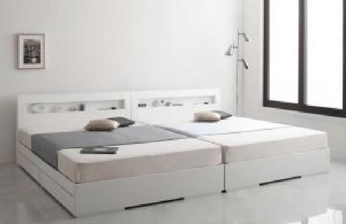 セミダブルベッド 白 収納 整理 付きベッド マルチラススーパースプリングマットレス付き セット 棚・コンセント付きデザイン収納 ベッド( 幅 :セミダブル)( 奥行 :レギュラー)( フレーム色 : ホワイト 白 )