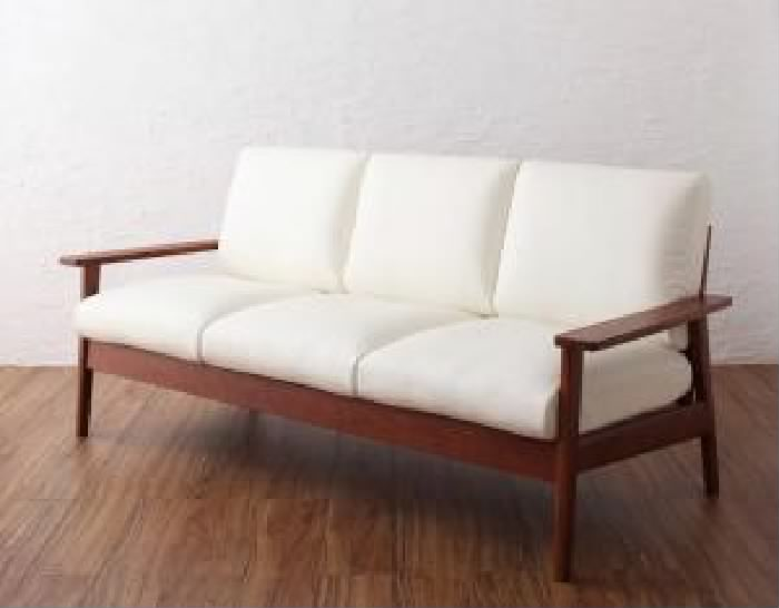 木肘デザインソファ 天然木 木製 シンプルデザイン木肘ソファ( 幅 :3P)( 色 : アイボリー 乳白色 )
