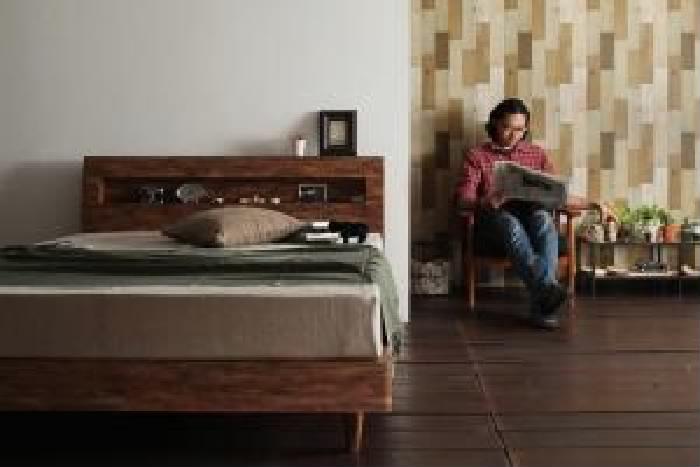 ダブルベッド 黒 茶 すのこ 蒸れにくく 通気性が良い ベッド プレミアムポケットコイルマットレス付き セット 棚・コンセント付きユーズドデザインすのこ ベッド( 幅 :ダブル)( 奥行 :レギュラー)( フレーム色 : シャビーブラウン 茶 )( マットレス色 : ブラッ