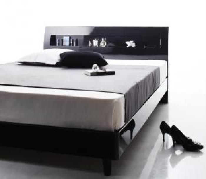 ダブルベッド棚付マットレス付きアーバンブラック黒