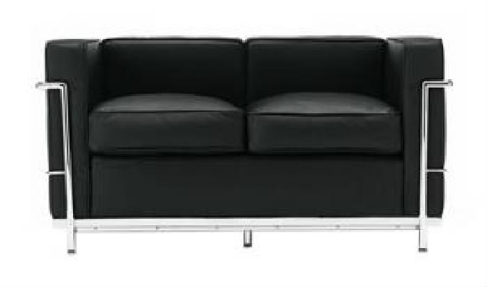 単品 ル・コルビジェ 用 ソファ LC2 (ソファ2人掛け 座面幅 2P)(カラー ブラック) ブラック 黒