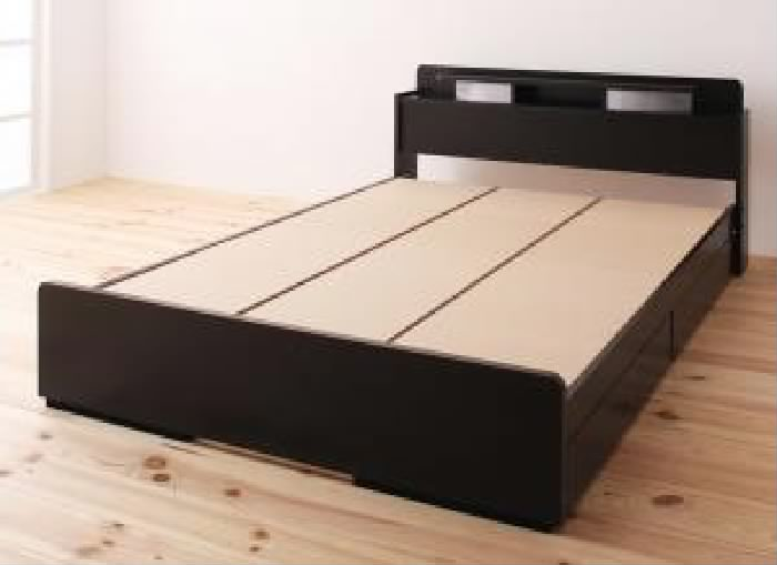 セミダブルベッド 黒 収納 整理 付きベッド用ベッドフレームのみ 単品 照明 ライト ・棚付き (置き台 置き場 付き) 収納 ベッド( 幅 :セミダブル)( 奥行 :レギュラー)( 色 : ブラック 黒 )