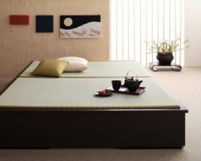 ダブルベッド 茶 畳ベッド ベッドフレームのみ 単品 モダンデザイン畳収納 整理 ベッド( 幅 :ダブル)( 奥行 :レギュラー)( 色 : ダークブラウン 茶 )