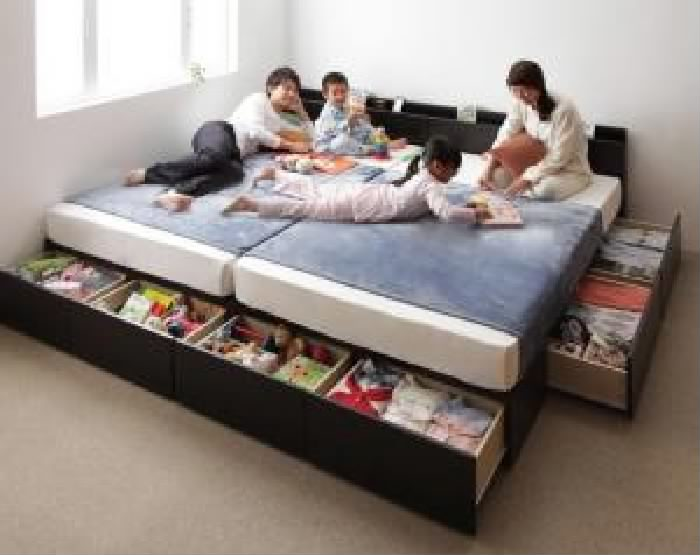 連結ベッド 国産 日本製 カバーポケットコイルマットレス付き セット 連結ファミリー収納 整理 ベッド( 幅 :ワイドK200)( 奥行 :レギュラー)( フレーム色 : ホワイト 白 )( 寝具色 : グレー )( A+Bタイプ )