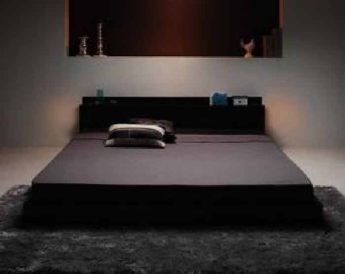 照明&隠し収納付き/モダンデザインフロアベッド マルチラススーパースプリングマットレス付き (対応寝具幅 ダブル)(対応寝具奥行 レギュラー丈)(フレームカラー ウォルナットブラウン) ダブルベッド 大きい 大型 2人 夫婦 ブラウン 茶