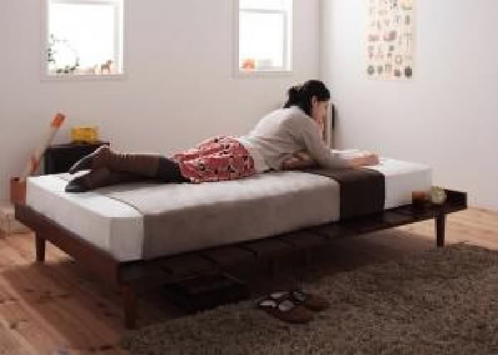 北欧デザインベッド スタンダードボンネルコイルマットレス付き ステージ (対応寝具幅 シングル フレーム幅120)(対応寝具奥行 レギュラー丈)(フレームカラー ダークブラウン)(マットレスカラー ブラック) シングルベッド 小さい 小型 軽量 省スペース 1人 ブラ