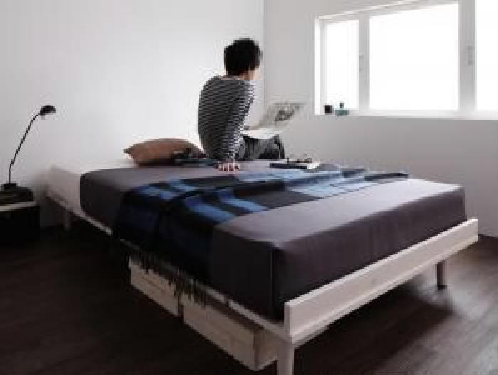 セミダブルベッド 白 デザインベッド 国産 日本製 カバーポケットコイルマットレス付き セット 北欧風デザイン ベッド( 幅 :セミダブル フレーム幅120)( 奥行 :レギュラー)( フレーム色 : ホワイト 白 )( フルレイアウト )