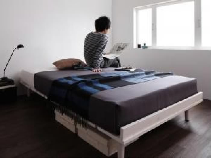 セミダブルベッド 黒 デザインベッド スタンダードボンネルコイルマットレス付き セット 北欧風デザイン ベッド( 幅 :セミダブル フレーム幅120)( 奥行 :レギュラー)( フレーム色 : ナチュラル )( マットレス色 : ブラック 黒 )( フルレイアウト )