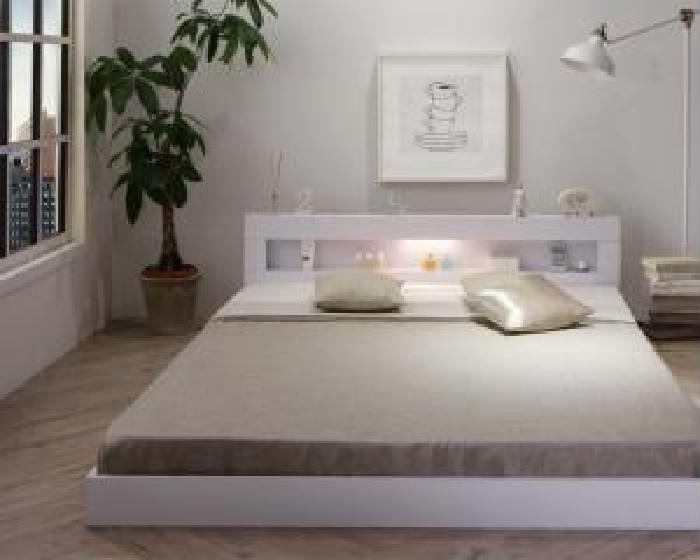 セミダブルベッド棚付きマットレス付きホワイト白