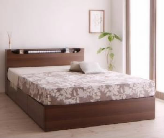 セミダブルベッド棚付マットレス付きオークホワイト白