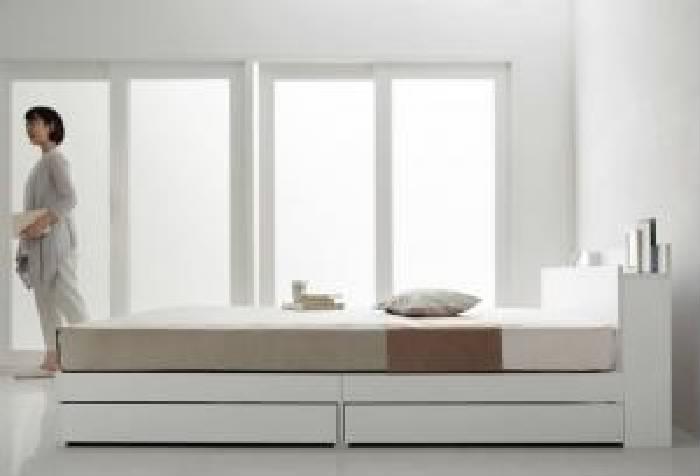 セミダブルベッド 白 収納 整理 付きベッド 国産 日本製 カバーポケットコイルマットレス付き セット 棚・コンセント付き収納 ベッド( 幅 :セミダブル)( 奥行 :レギュラー)( フレーム色 : ホワイト 白 )