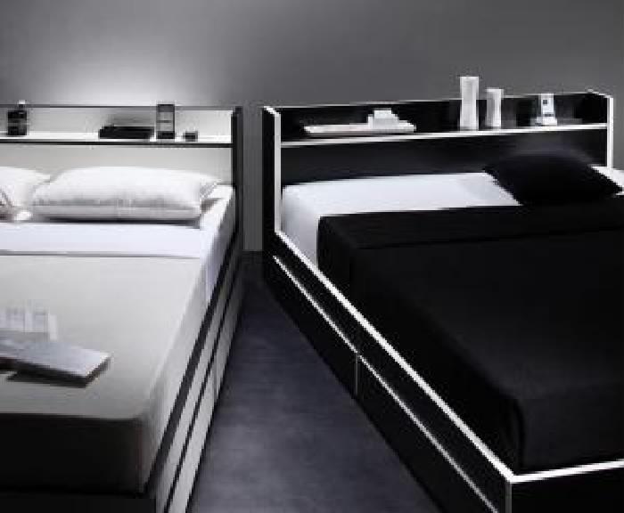 ダブルベッド棚付マットレス付き黒×ホワイト白エッジ
