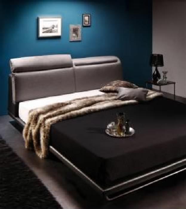 クイーンサイズベッド(Q×1)マットレス付きライトグレー×ブラック黒レザー