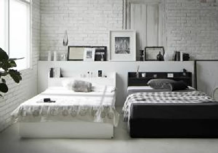 ダブルベッド 白 黒 すのこ 蒸れにくく 通気性が良い ベッド スタンダードボンネルコイルマットレス付き セット 棚・コンセント付き収納 整理 すのこ ベッド( 幅 :ダブル)( 奥行 :レギュラー)( フレーム色 : ホワイト 白 )( マットレス色 : ブラック 黒 )