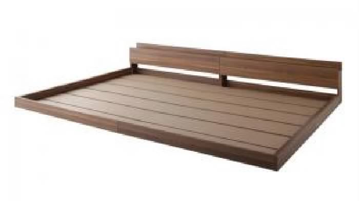 クイーンサイズベッド 茶 連結ベッド用ベッドフレームのみ 単品 大型 大きい モダンフロアベッド 低い ロータイプ フロアタイプ ローベッド ( 幅 :クイーン(SS×2))( 奥行 :レギュラー)( フレーム色 : ウォルナットブラウン 茶 )