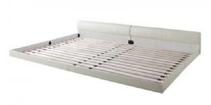 連結ベッド用ベッドフレームのみ 単品 ワイドレザーフロアベッド 低い ロータイプ フロアタイプ ローベッド ( 幅 :ワイドK220(S+SD))( 奥行 :レギュラー)( フレーム色 : ブラック 黒 )