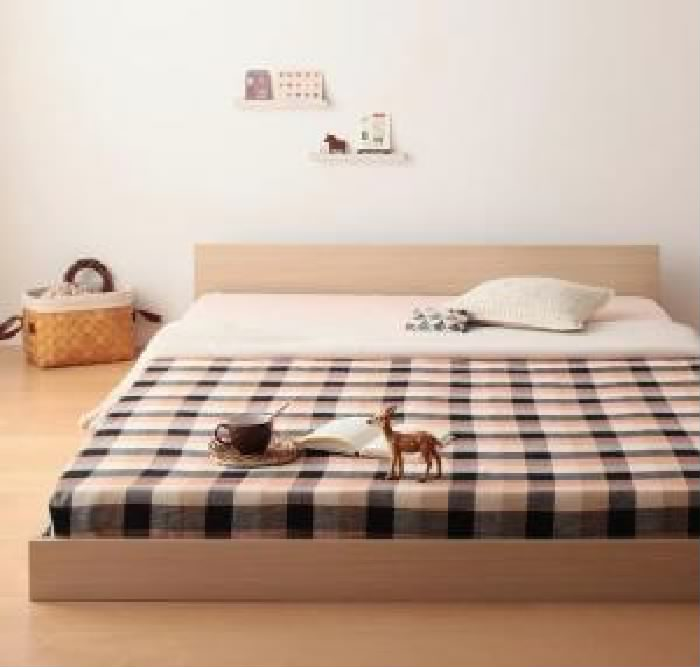 シングルベッド 白 黒 連結ベッド プレミアムボンネルコイルマットレス付き セット ずっと使える・将来分割出来る・シンプルデザイン大型 大きい フロアベッド 低い ロータイプ フロアタイプ ローベッド ( 幅 :シングル)( 奥行 :レギュラー)( フレーム色 : オー