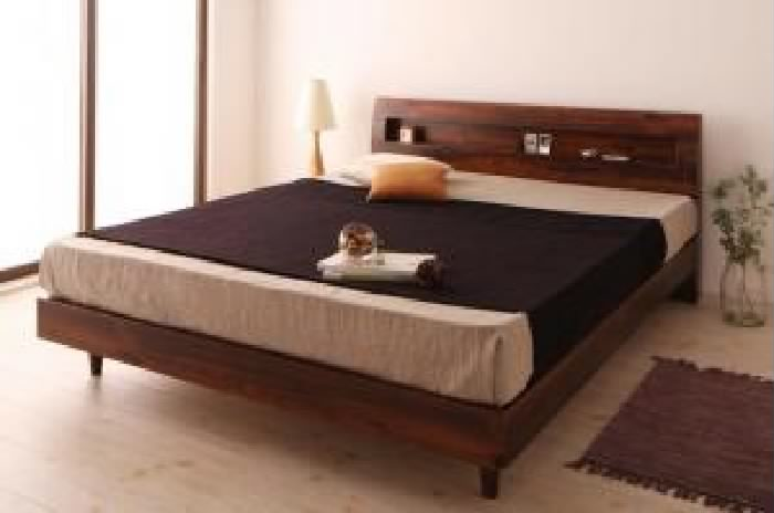 クイーンサイズベッド 黒 茶 すのこ 蒸れにくく 通気性が良い ベッド プレミアムボンネルコイルマットレス付き セット 棚・コンセント付きデザインすのこ ベッド( 幅 :クイーン(Q×1))( 奥行 :レギュラー)( フレーム色 : ウォルナットブラウン 茶 )( マットレ