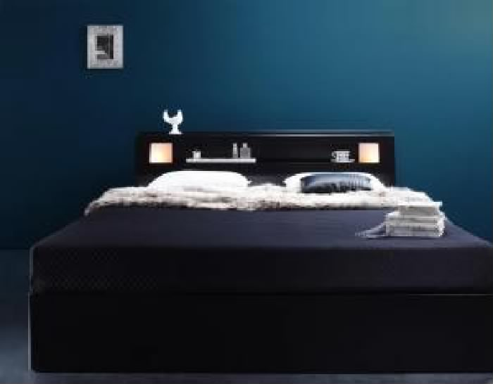ダブルベッド 白 黒 収納 整理 付きベッド スタンダードポケットコイルマットレス付き セット モダンライト・コンセント付き収納 ベッド( 幅 :ダブル)( 奥行 :レギュラー)( フレーム色 : ブラック 黒 )( マットレス色 : ホワイト 白 )
