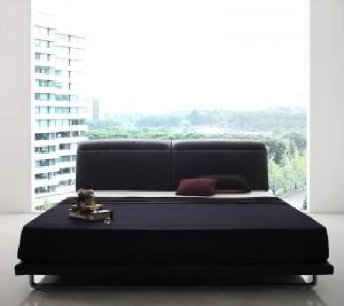 ダブルベッド 黒 デザインベッド プレミアムボンネルコイルマットレス付き セット リクライニング機能付き・モダンデザインローベッド 低い ロータイプ フロアベッド フロアタイプ ( 幅 :ダブル)( 奥行 :レギュラー)( フレーム色 : ブラック 黒 )( マットレス色